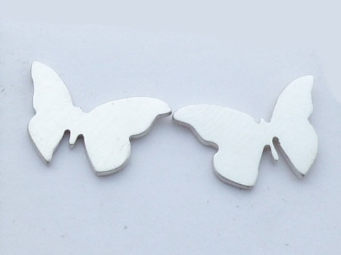 Brushed Sterling Silver Butterfly Studs