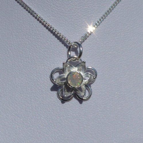 Silver Flower Pendant with Opal Centre - made to order