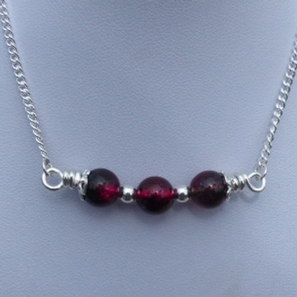 Red Tourmaline Beaded Necklace with small Silver Beads