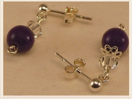 Silver purple and clear bead drop earrings