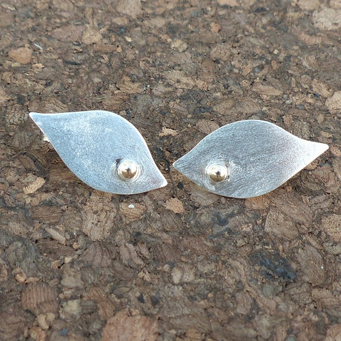 Satin Silver Leaf Earrings - item made to order