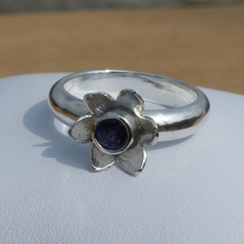 Silver Iolite Flower Ring with narrow band - made to order