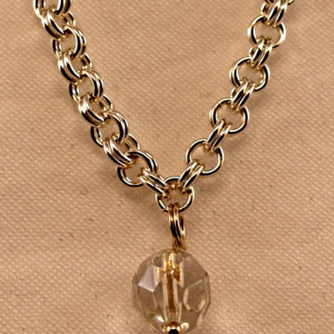 Double chain link bracelet with single bead dangle - made to order