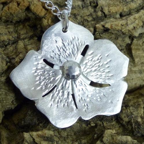Silver carved flower pendant - one off design