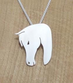 P0566 Sterling Silver Horse Head Pendant
