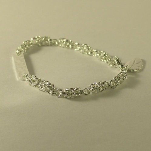Silver Byzantine weave and bar bracelet with charm - one of a kind