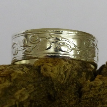 Silver Rose and Leaf Pattern Ring High Shine - made to order