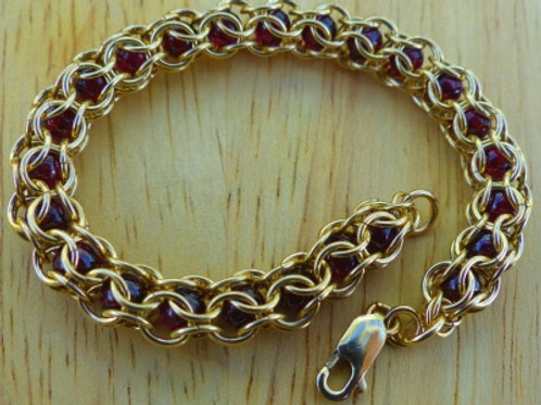 Golden Captured Garnet Bead Bracelet - last one