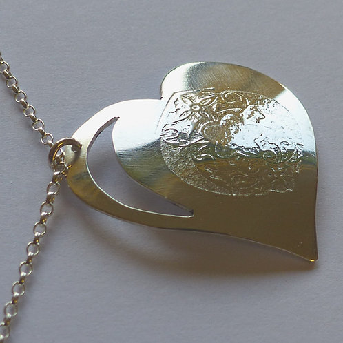 Argentium Cutout Embossed Heart Pendant - made to order