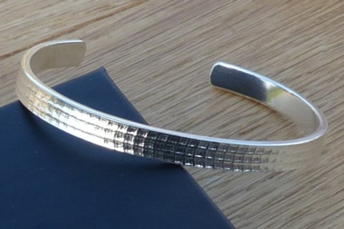 Silver Slave Bangle with Firedrake Pattern