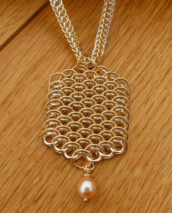 Dragonscale Silver & Gold filled Pearl Necklace P0646b