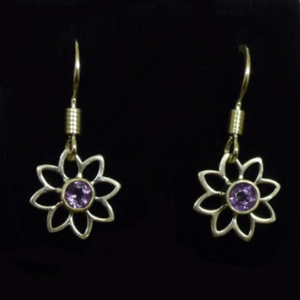 Silver Daisy Amethyst Drop Earrings - item made to order