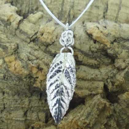 Fine Silver Buddleia Pendant with hand made bail and a chain - last one