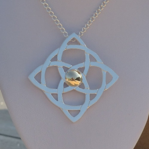 Argentium Silver Celtic Square Necklace - one of a kind
