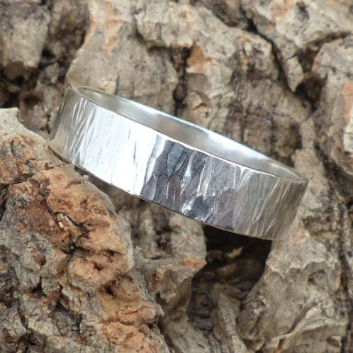 Sterling Silver Tree Bark Pattern Ring - made to order