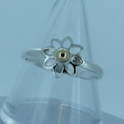 Silver Flower Ring with Gold Centre - made to order