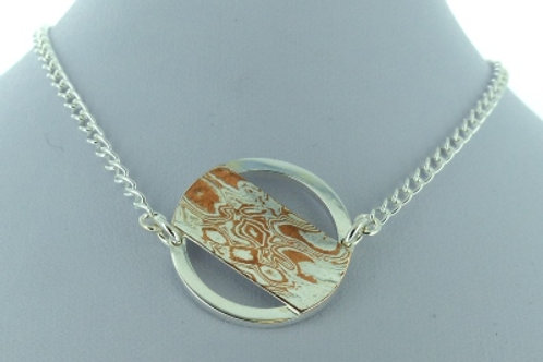 Silver and Mokume Round Necklet with curb chain - made to order