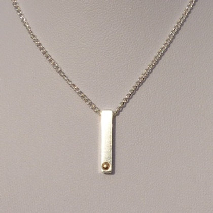 Sterling Silver Bar with Gold Ball Pendant and Chain