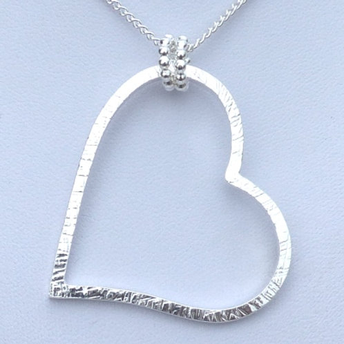Patterned Silver Large Heart Pendant