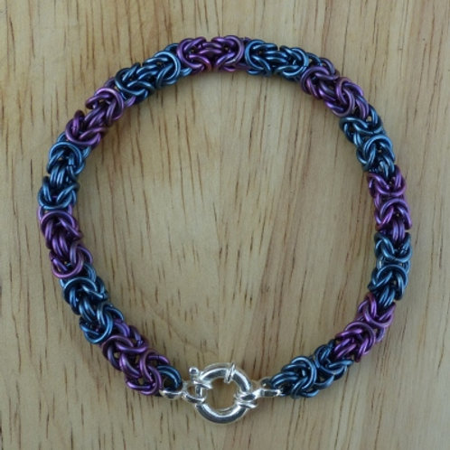 Byzantine Bracelet in Teal and Violet with heavy silver clasp - one of a kind