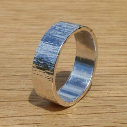 Britannia Silver Bark Effect Ring with hammered edges - made to order