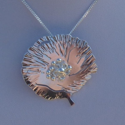 Silver Flat Poppy Pendant and Chain - made to order