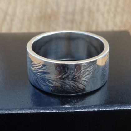 Britannia Silver 958 Embossed Leaf Ring - made to order