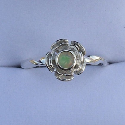 Twisted Band Silver and faceted Opel Flower Ring - made to order
