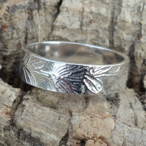 Argentium Silver Roller Pattern Leaf Ring - made to order