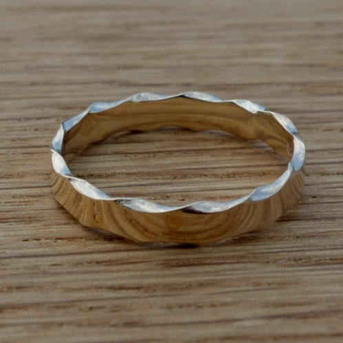 9ct Yellow Gold Wany Edge Petite Ring - made to order