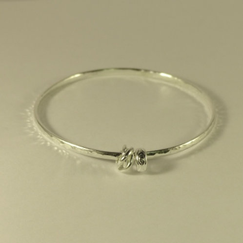 Silver Hammered D Shape Bangle with charms - item made to order