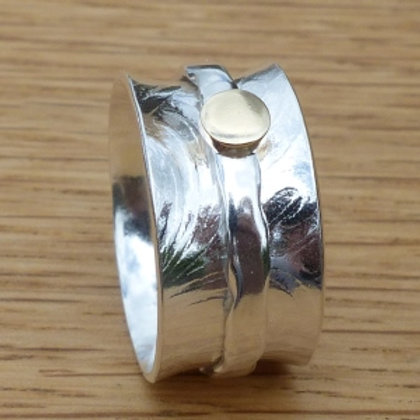 Britannia Silver Patterned Spinner Ring with Gold Centre - made to order