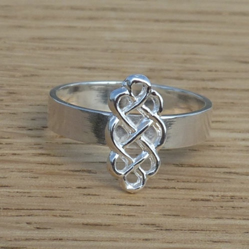 Sterling Silver Ring with long Celtic knot - made to order