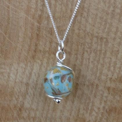 Murano Glass wrapped in fine silver Pendant