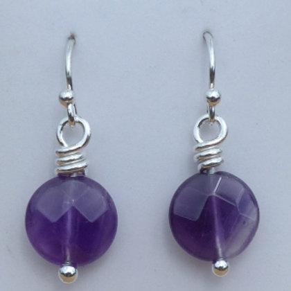 Amethyst Coin Dangle Earrings