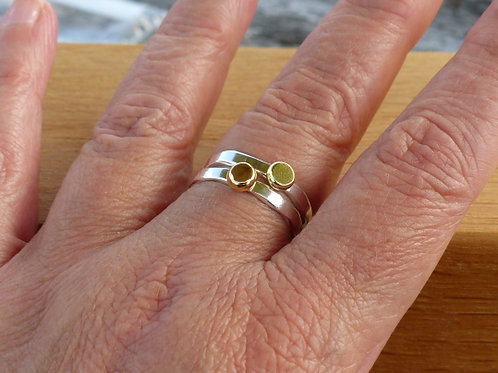 Sterling Silver Wany Edge Ring with either 18ct Gold Yellow or Pink Centre