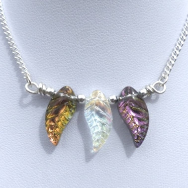 Iridescent Multicoloured Glass Leaves Beaded Necklet