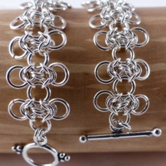 Silver open byzantine weave chain bracelet - item made to order