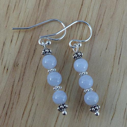Blue lace agate silver drop earrings