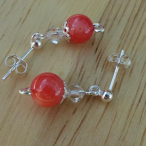 Pink coral dangle stud earrings