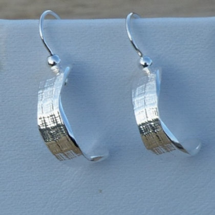 Silver Half Circle Creole Style Patterned drop earrings