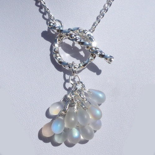 Front fastening Necklace with bead cluster - One of a kind