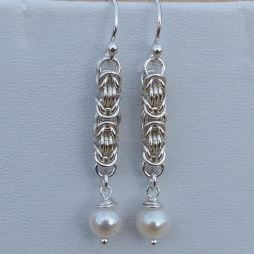 Silver Byzantine Chain & Pearl Drop Earrings