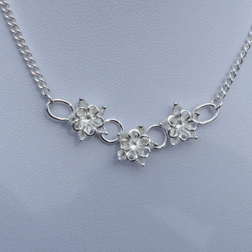 Silver Flower Trio V Shaped Necklace - made to order