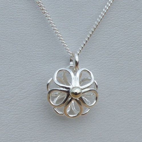Silver Daisy Pendant with Gold Centre