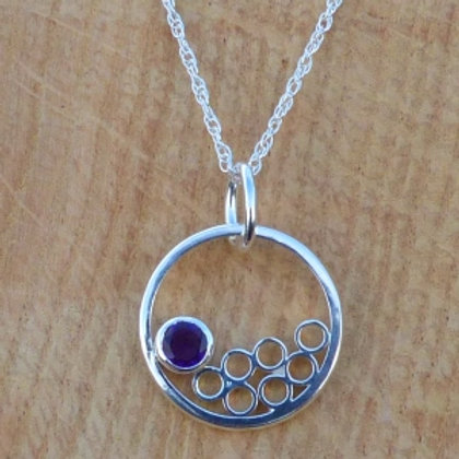 Circles with Circles Amethyst Silver Pendant