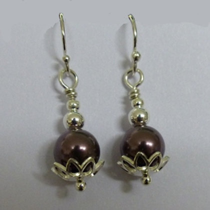 Sterling Silver Purple Swaroski Pearl and Flower Earrings