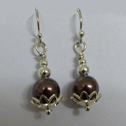 Sterling Silver Purple Swaroski Pearl and Flower Earrings