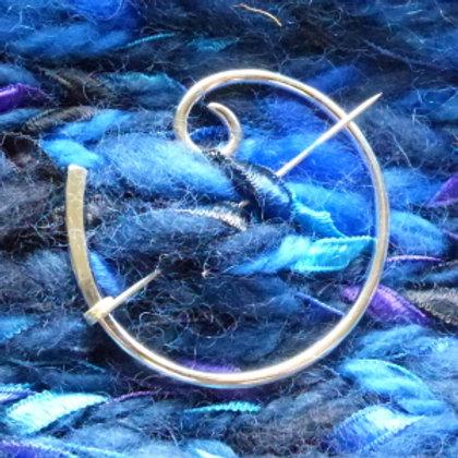 Round Wire Spiral Penannula Brooch