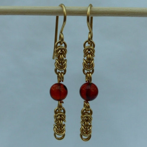 Gold filled byzantine and amber - item made to order